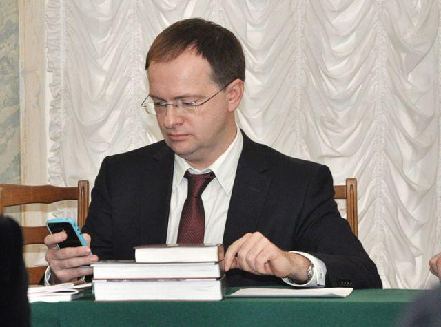 Vladimir Medinsky during the open meeting at the Institute of Art History, December 11, 2012