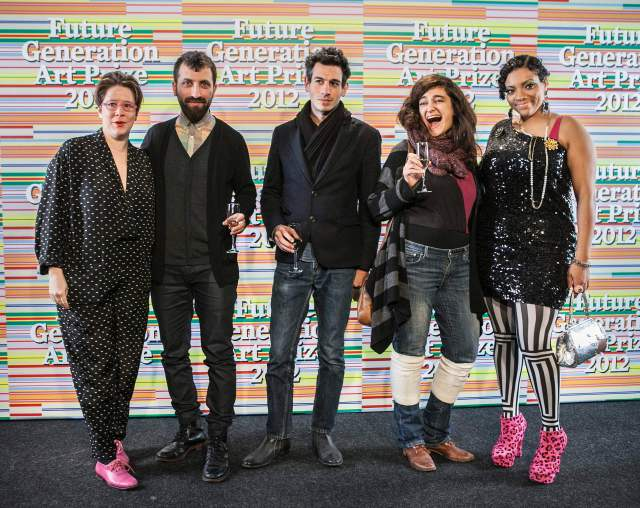 Artists Emily Roysdon, Ahmet Öğüt, Rayyane Tabet, Marwa Arsanios and Abigail DeVille. Photo courtesy of PinchukArtCentre.