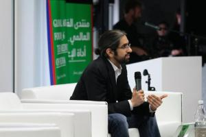 Sultan Sooud Al Qassemi speaks at Mathaf during the 2012 Global Art Forum