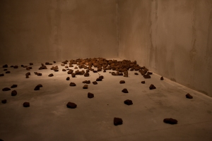 A detail from Latifa Echakhch's Stoning, 2010, as installed in Perpetual Battles, Baibakov Art Projects, Moscow. Photo courtesy of Baibakov Art Projects