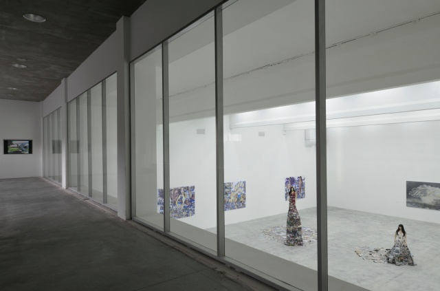 Installation view of Perpetual Battles, including works by Raphael Zarka, Thomas Hirschhorn, and Ida Tursic & Wilfried Mille, Baibakov Art Projects, Moscow, 2010. Photo courtesy of Baibakov Art Projects.