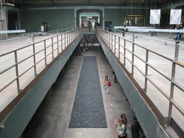 Installation view of Richard Long, Bolivian Cole Line, 1992/2012, Manifesta 9, Ghenk, 2012. Photo Kate Sutton.