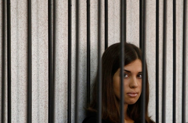 Nadya Tolokonnikova on trial, July 26, 2013. Photo REUTERS/Sergei