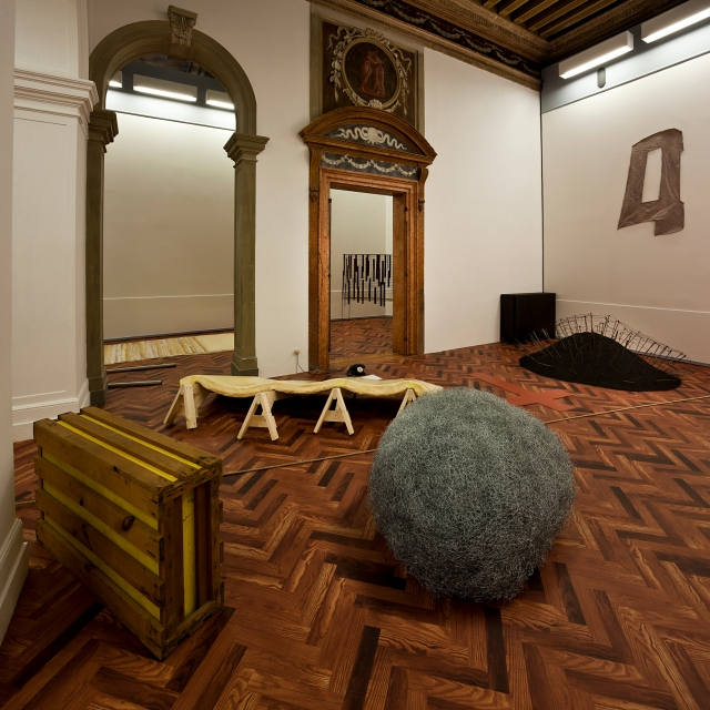 "Installation view of ""When Attitudes Become Form: Bern 1969/Venice 2013""  From left to right: works by Gary B. Kuehn, Eva Hesse, Alan Saret, Reiner Ruthenbeck, Richard Tuttle Fondazione Prada, Ca' Corner della Regina Venice, 1 June – 3 November 2013  Photo: Attilio Maranzano  Courtesy: Fondazione Prada"