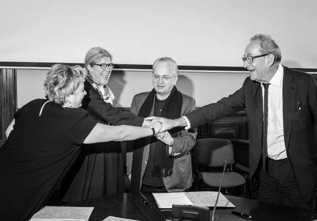 Manifesta's Hedwig Fijen,  Director of the Hermitage Mikhail Piotrovsky, and Kaspar Konig celebrate the official announcement of Manifesta 2014