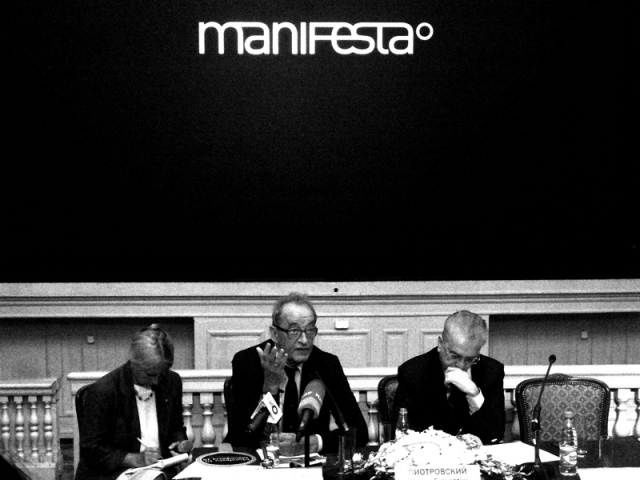 The September 6 Manifesta press conference, held at the Hermitage, St Petersburg. Photo Art1.ru