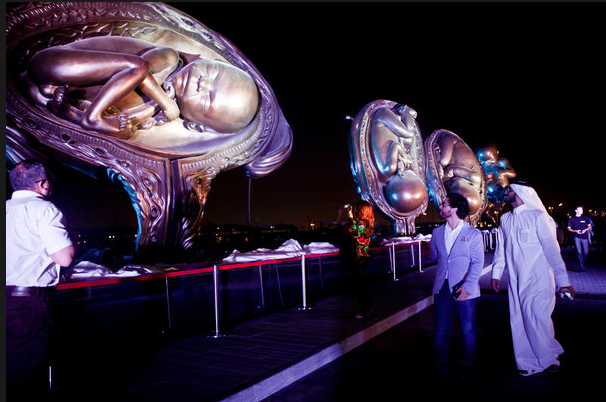 The opening of Damien Hirst's sculptures in Doha. Photo Natalie Naccache, New York Times.