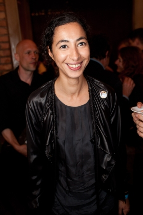 """Latifa Echakhch at the opening of """"Perpetual Battles,"""" Baibakov Art Projecst, Moscow, 2010."""