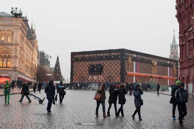 Louis Vuitton's pavilion on Red Square, photographed by Kirill Lebedev