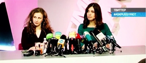 A screen shot from today's conference, with Maria Alyokhina and Nadezhda Tolokonnikova