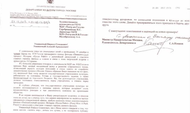 The December 27, 2013,  letter from Moscow Minister of Culture Sergey Kapkov, banning Gogol Center directors Kirill Serebrennikov and Alexei Malobrodsky. Scan reposted from Serebrennikov's Facebook account.