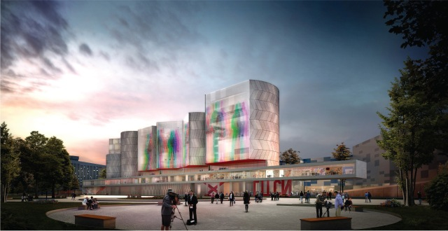 Visualization of the new NCCA building, as proposed by Nieto Sobejano Arquitectos