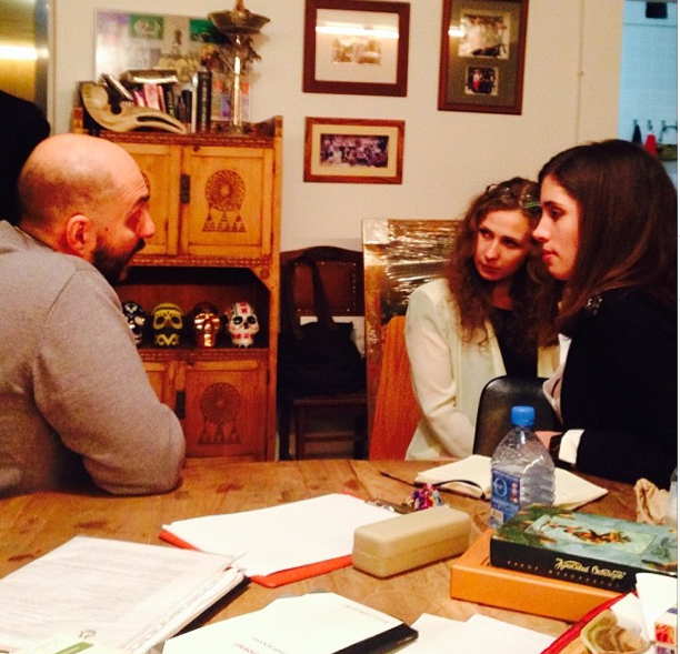 Kirill Serebrennikov meets with Maria Alyokhina and Nadia Tolokonnikova at the Gogol-Center. Photo Alexander Cheparukhin.
