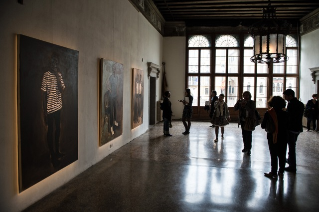 An installation view of Lynette Yiadom-Boakye's works at the exhibition of Future Generation Art Prize in Venice, 2013.