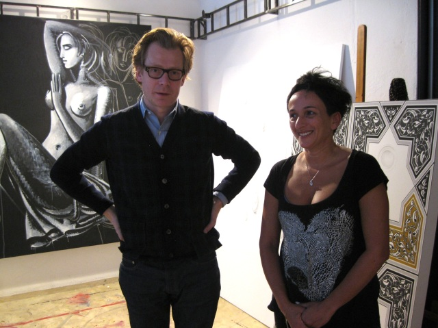 Philippe Vergne with artist Aidan Salakhova in her studio, April 2011.