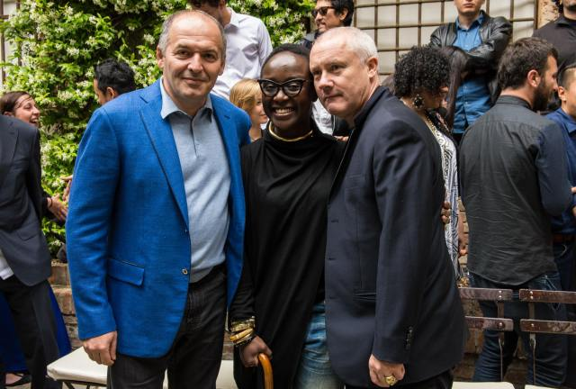 Victor Pinchuk with artists Lynette Yiadom-Boakye and Damien Hirst, at the Future Generation Art Prize opening in Venice, 2013. Photo courtesy of PinchukArtCentre, Future Generation Art Prize.