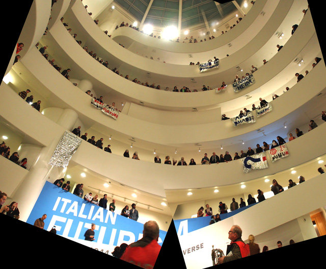Image of the February 22 protest at the Guggenheim. Image courtesy of GULF, found on Hyperallergic.