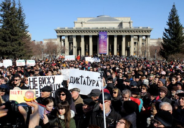 Protests defending Tannhäuser in Novosibirsk